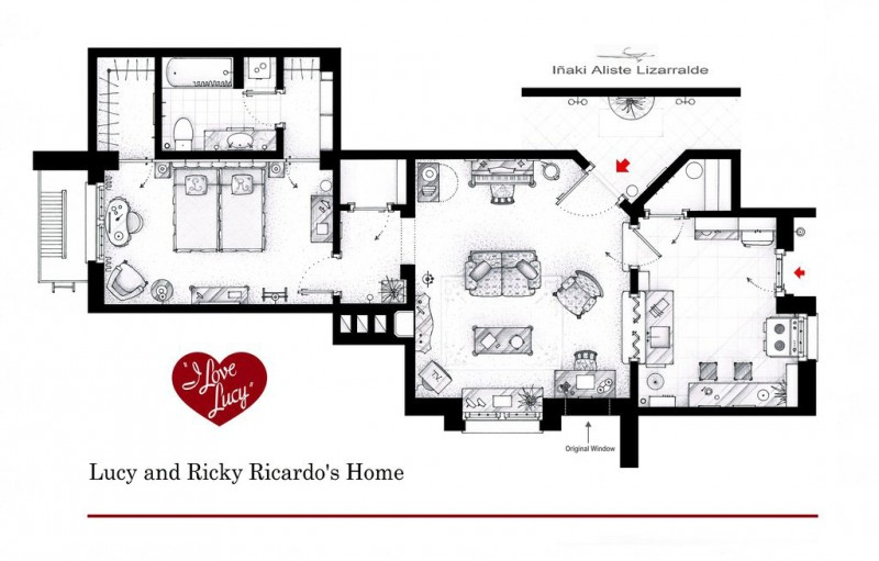 I Love Lucy apartment floor plan