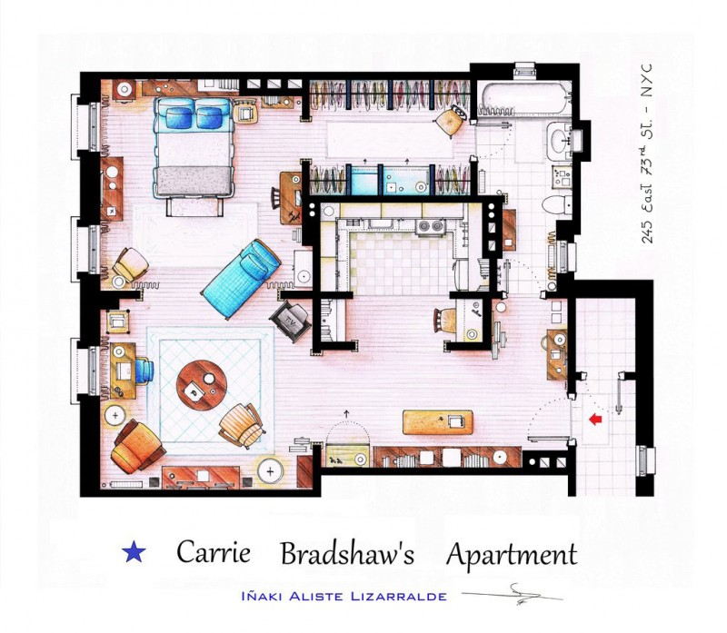 Sex in the City Carrie Bradshaw's apartment floor plan