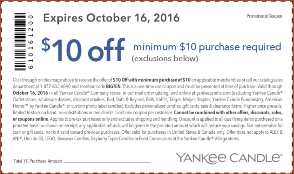 picture about Printable Yankee Candle Coupons called Yankee Candle Printable Coupon in direction of Conserve $10 off a Bare minimum $10