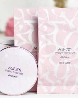 ◤韓國AGE 20's逆齡無痕安瓶精華粉底 套裝 (粉紅色盒) 亮白色◢