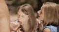 Super Cute Euro Teens Share A Cock, Outside