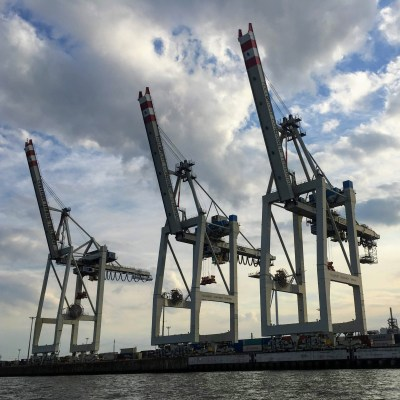 Hamburg harbor cranes