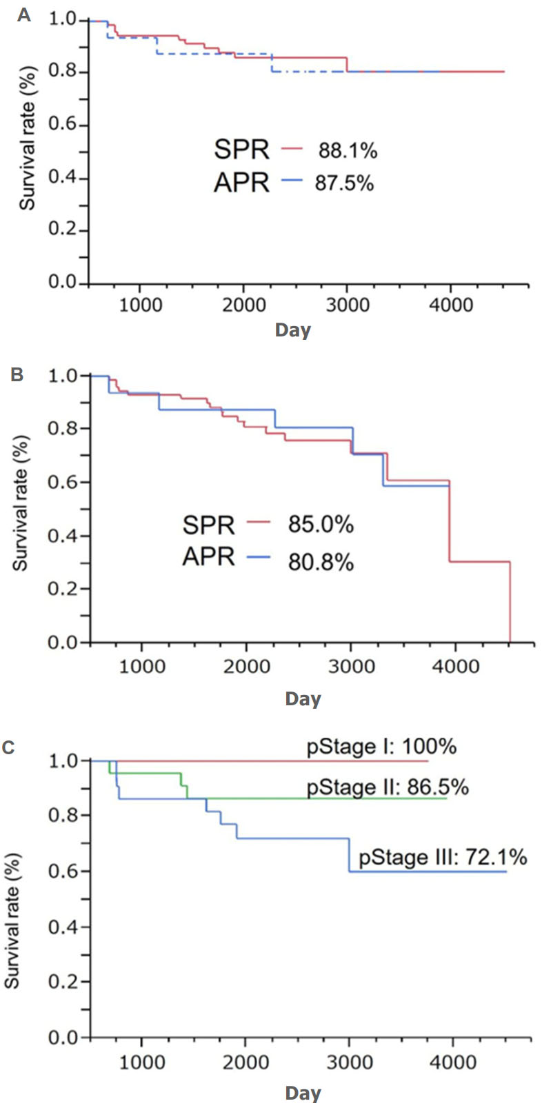 hight resolution of kaplan meier survival rate in the sphincter preserving resection and abdominoperineal resection groups a overall survival rate b disease free survival