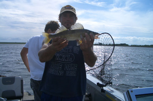 Catching walleye, overcast day on the water