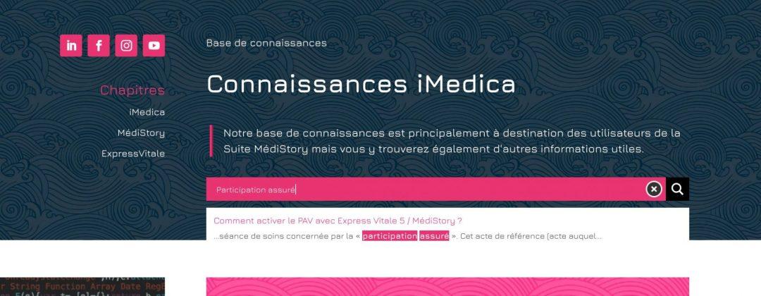 Capture d'écran de la base de connaissances iMedica