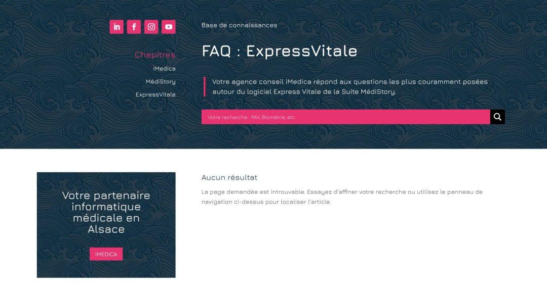 Capture d'écran de la base de connaissances du site imedica.fr