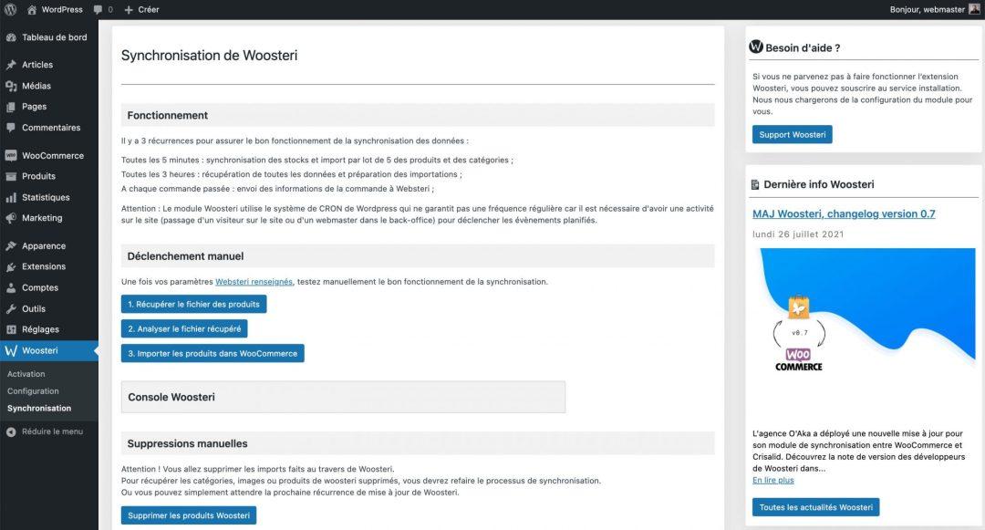 Capture d'écran du Back-Office de l'extension Woosteri pour WordPress