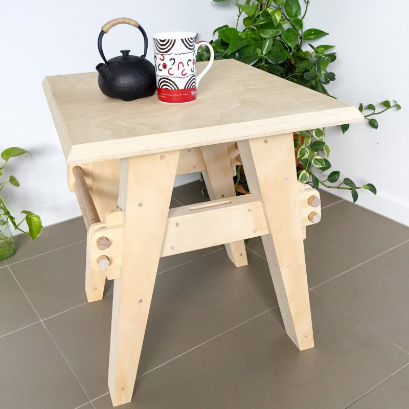 Oak & Hide Side Table
