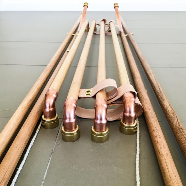 Oak & Hide Copper Brass Dowel Clothes Rack