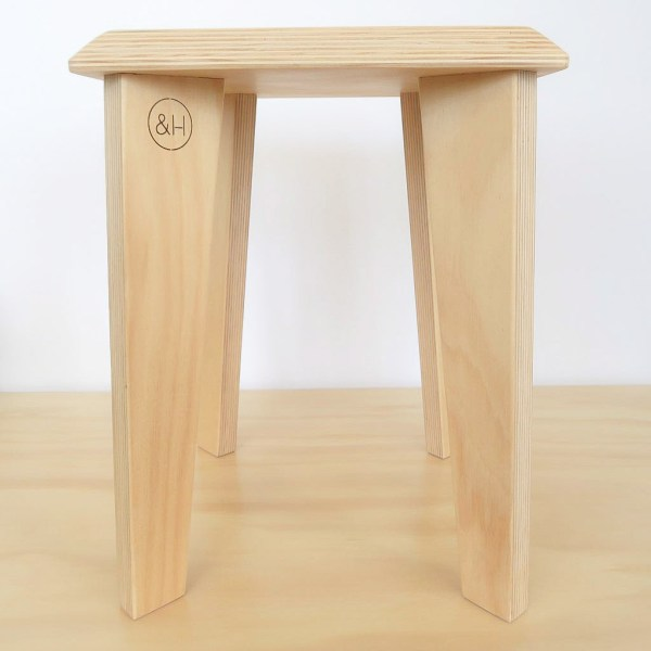 Oak & Hide Sustainable Hoop Pine Plywood Stool