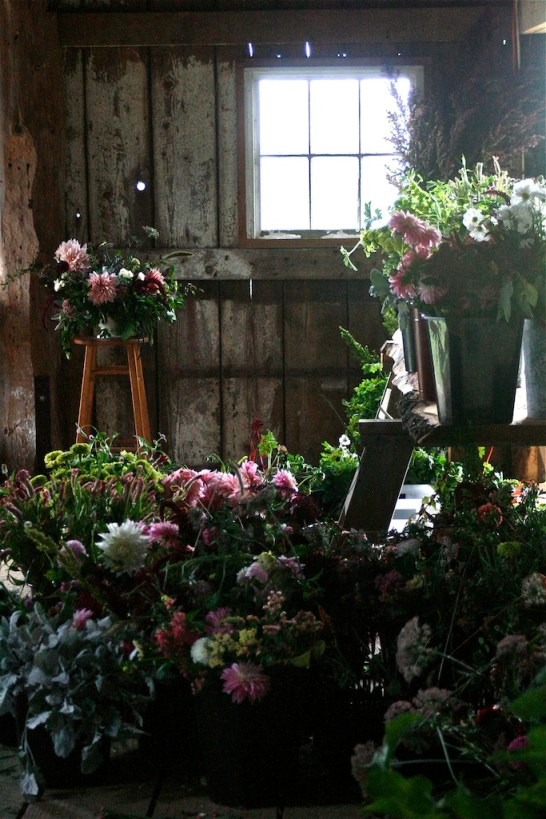 Floret Flower Farm barn buckets in window