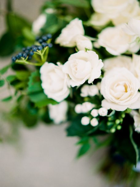 White and blue bouquet by Oak & Lily Flowers Photo by Brittany Mahood br-wedding006