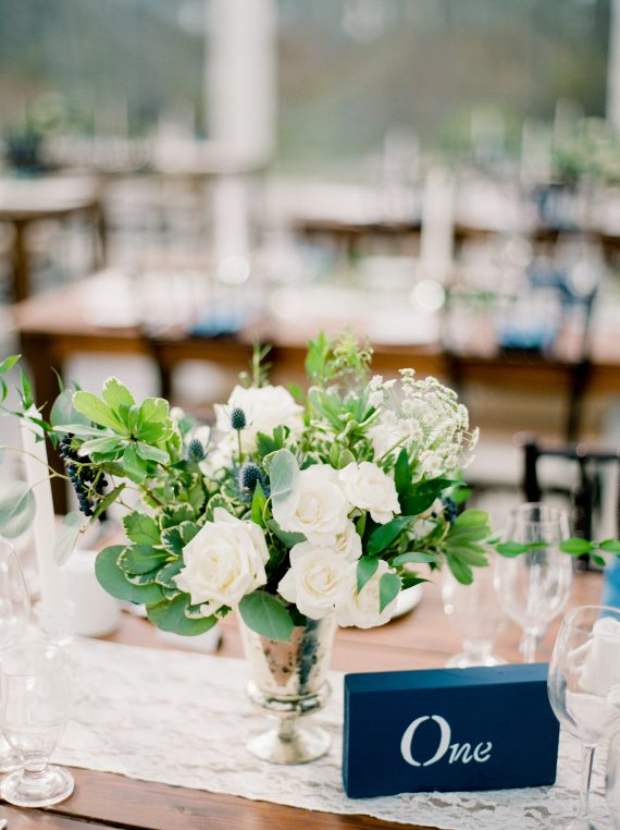 White and blue centerpiece at Winnipeg weddingby Oak & Lily Flowers Photo by Brittany Mahood br-wedding634
