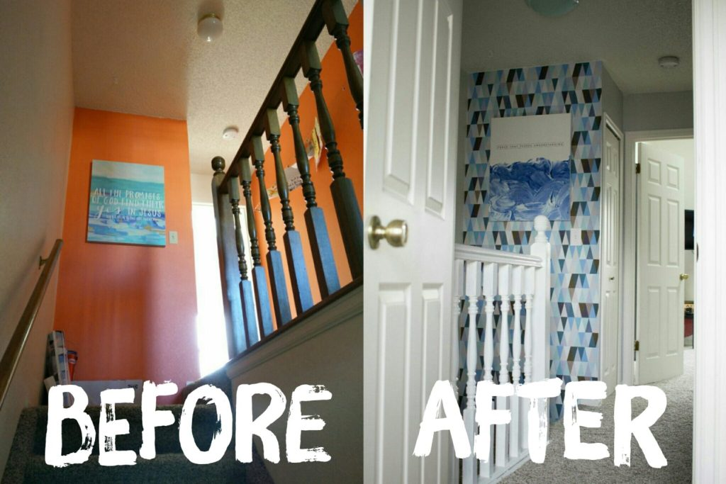 Before & After - Walls Need Love - Love this Hallway remodel! And this Wallpaper is the best kind! Easy to put up and easy to take down!