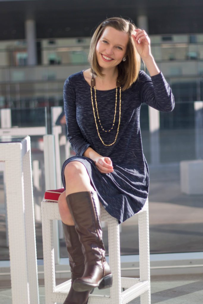Date Night Out outfit! Love the tall boots and the long sleeve dress - perfect for those chilly nights!