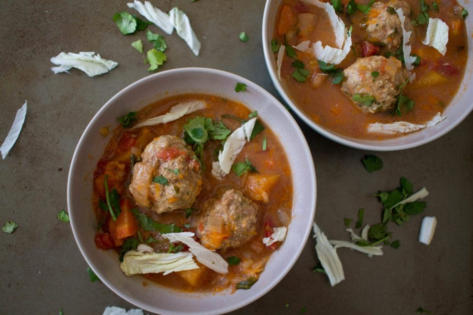 Winter albondigas with shredded cabbage with Sun Basket! This is the best! A healthy, local, meal delivery service!! Click through to learn more and save $30 off your first order!