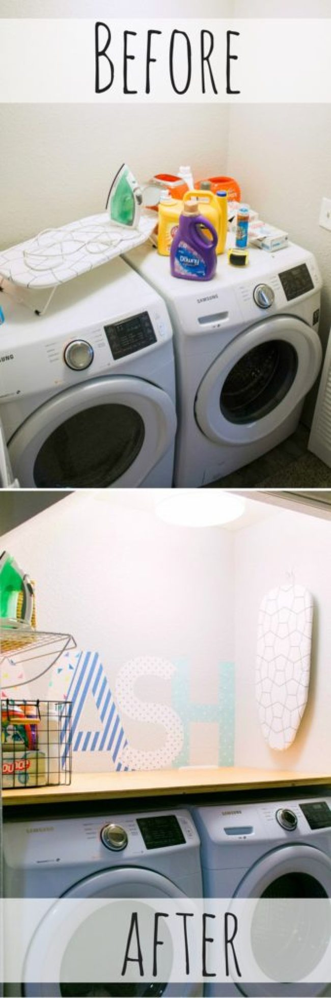 Our Tiny Laundry Room Reveal - You don't need to have a huge space to have a practical and beautiful laundry room! I love this closet laundry room! What a great use of a small space. Great idea for small laundry rooms!