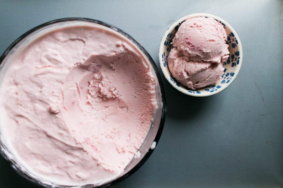 Fresh Strawberry Homemade Ice Cream
