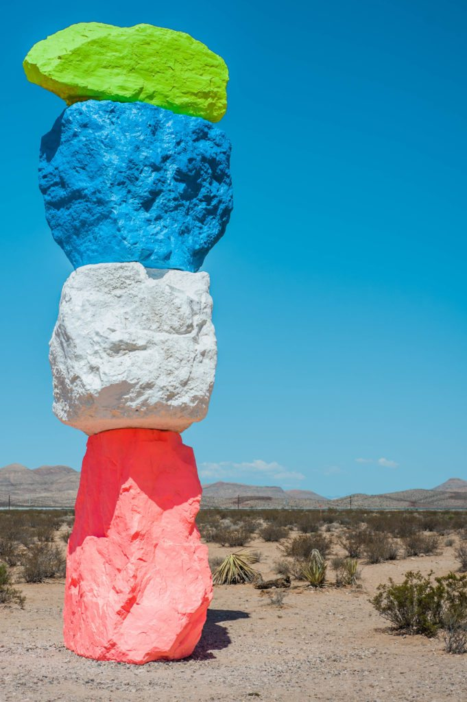 Love this fun neon desert style! That top is so perfect for hot summer!  location: seven magic mountains