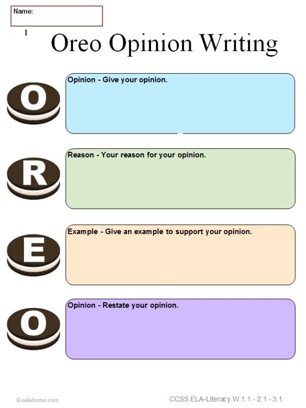 Common Core Graphic Organizer OREO Opinion Writing K5
