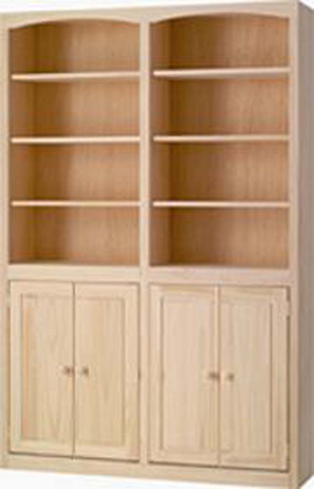 Archbold Furniture 48 Wide Pine Bookcase WDoors Oak