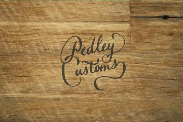 Pedley Customs, brand identity design. Custom hand drawn logo.