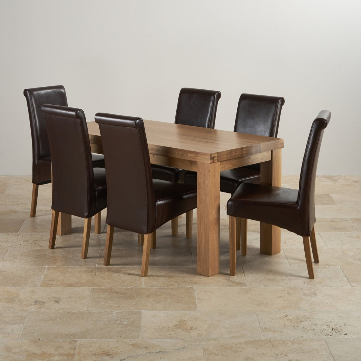 Dining Chairs Set Contemporary Dining Set In Oak Table 43 6 Brown Leather Chairs