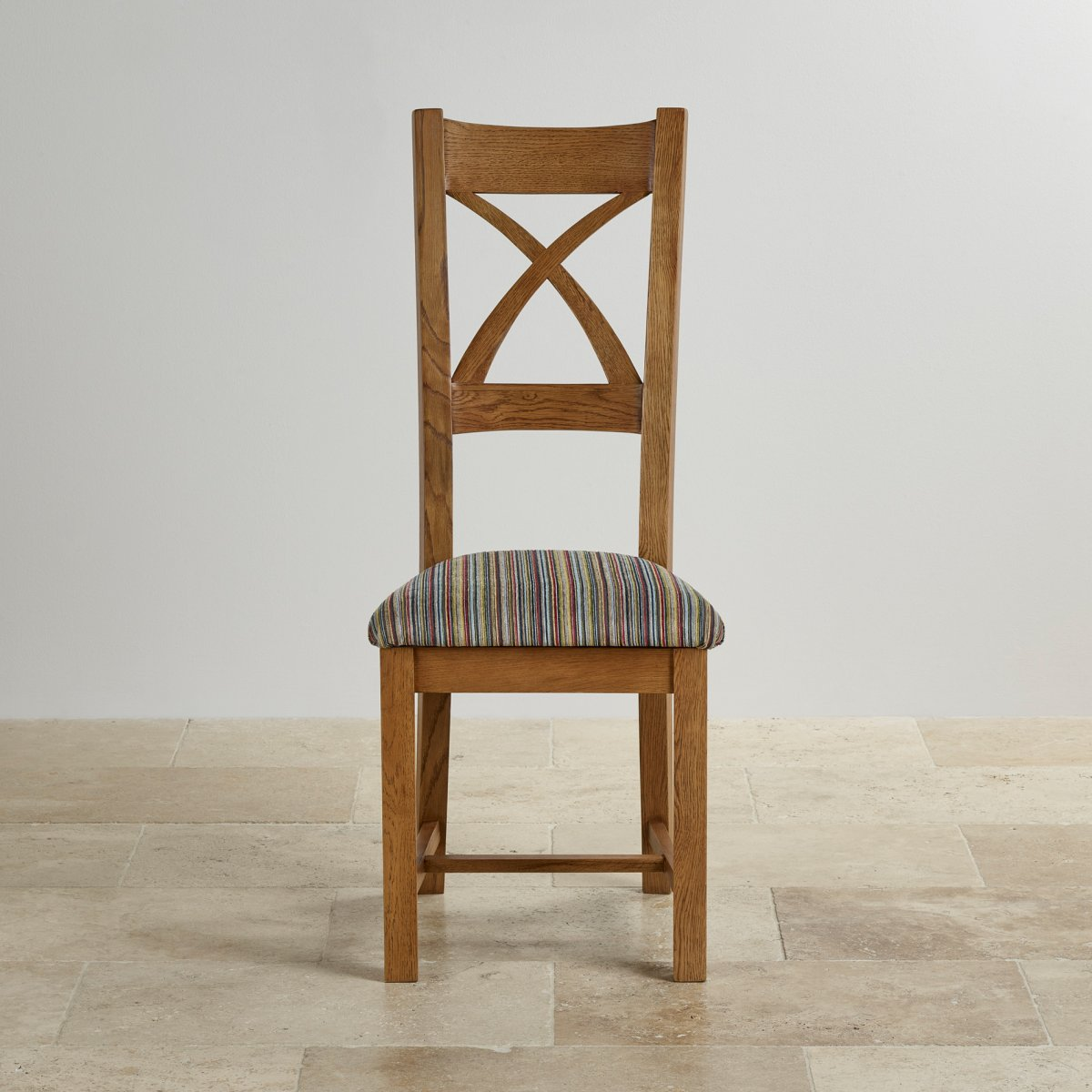 Rustic Dining Chairs Cross Back Dining Chair In Rustic Oak Multi Coloured Fabric