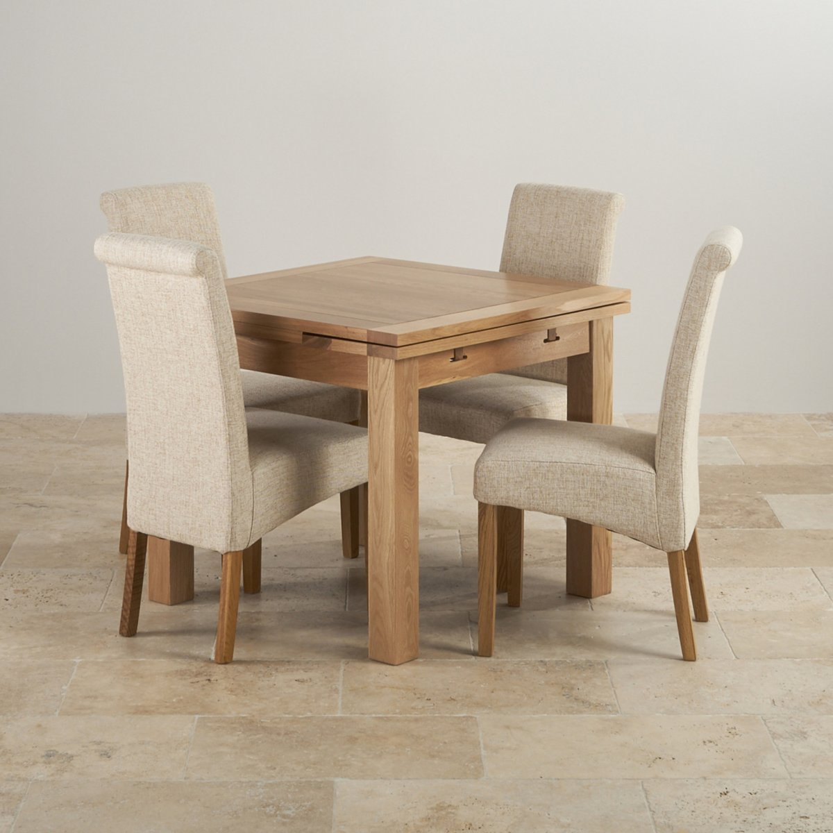Dorset Oak 3ft Dining Table with 4 Beige Fabric Chairs