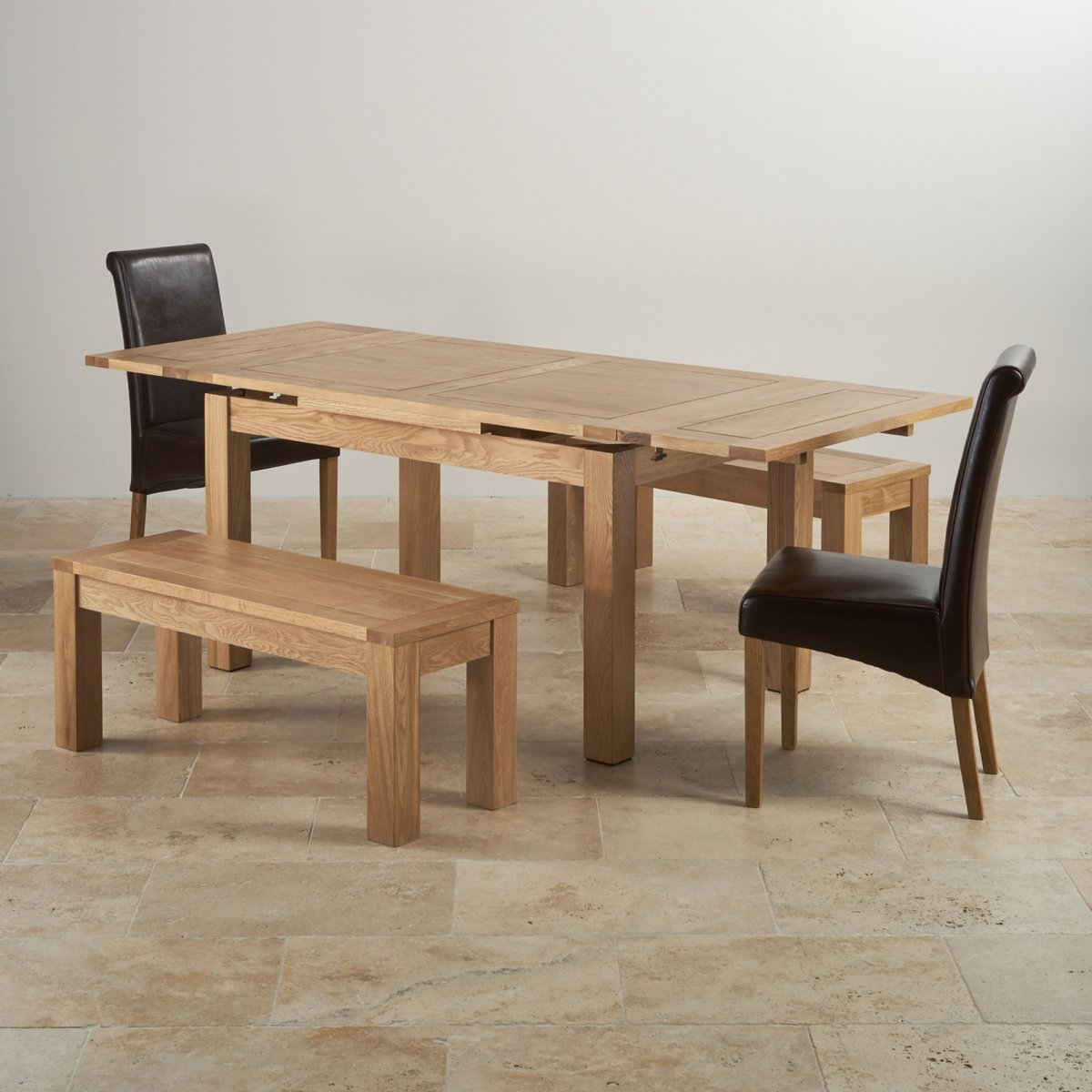 Dining Table With Bench And Chairs Dorset Extending Dining Set In Oak Table 43 Benches And Chairs