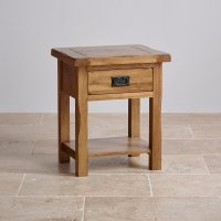 Original Rustic Lamp Table in Solid Oak