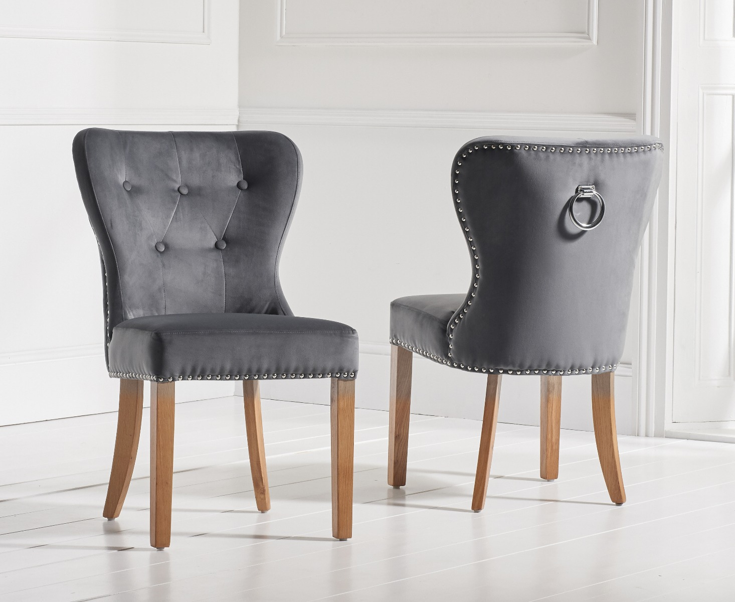 Studded Dining Chairs Knightsbridge Studded Grey Velvet Oak Leg Dining Chairs