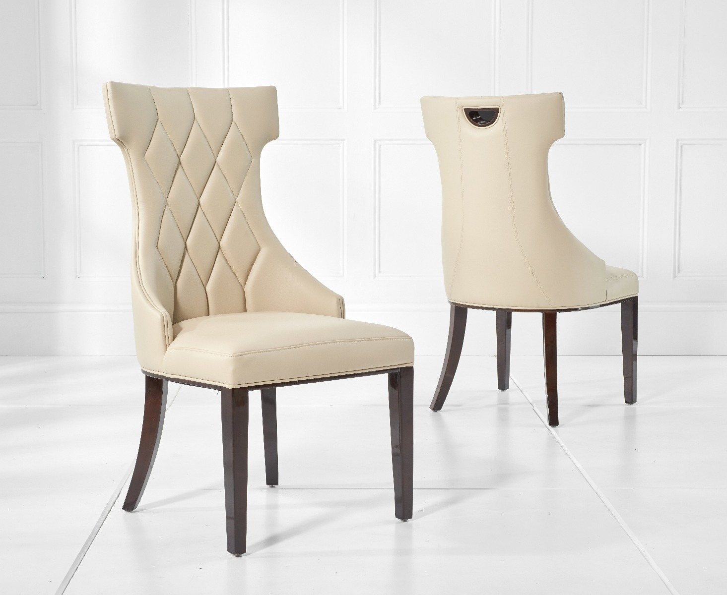 Beige Leather Dining Chairs Freya Cream Faux Leather Dining Chairs