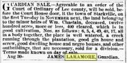 laramore_james_chastain_william_documents_np_sale-of-land-of-heirs-of-chastain_27-sept-1860_macon-telegraph_vol-xxxiv-iss-50-pg-7_genealogybank