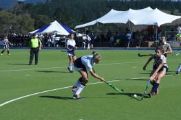 Oakhill 1st team Charne De Wet challenging Glenwood for the ball (Copy)