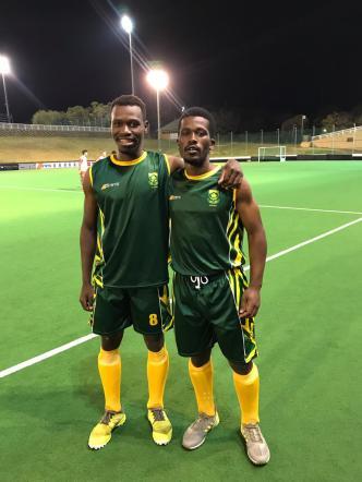 Sam Mvimbi (right) and his captain, Peabo Lembethe in Sam's SA Mens debut against Namibia