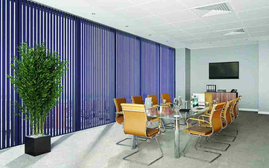 purple office vertical blinds