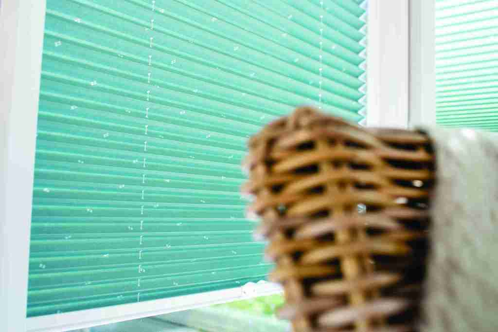 close up green perfect fit pleated blinds