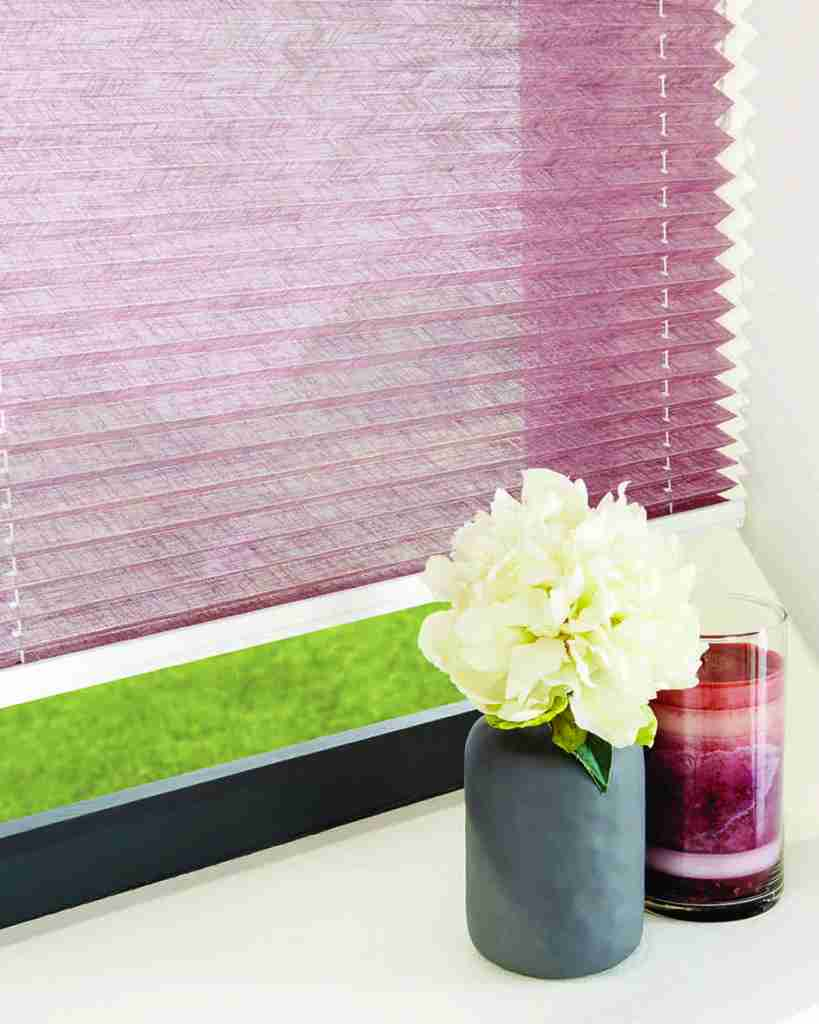 pink pleated blinds