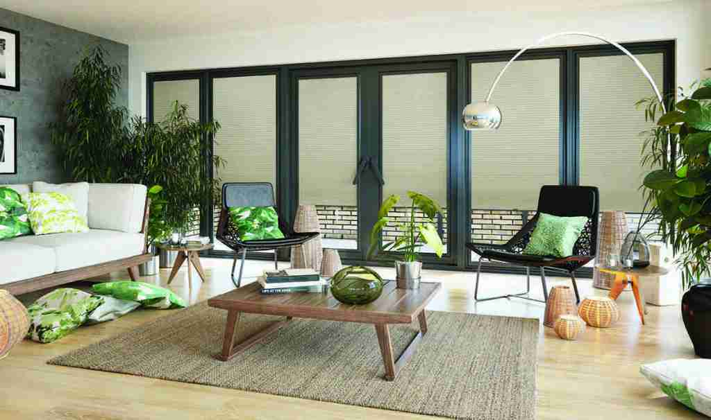 green pleated blinds