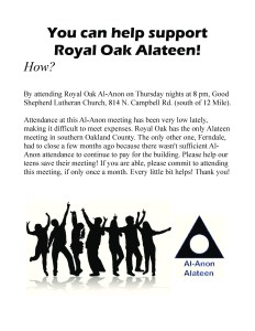Please Support Royal Oak Alateen @ Good Shepherd Lutheran Church | Royal Oak | Michigan | United States
