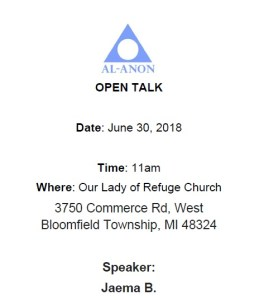 June 30 Open Talk @ Our Lady of Refuge Church | Orchard Lake Village | Michigan | United States