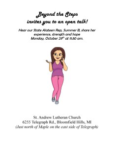 Open Talk by State Alateen Representative @ St. Andrew Lutheran Church | Bloomfield Hills | Michigan | United States