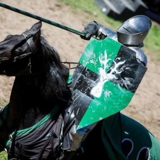 A jouster plunges forward in the ring!