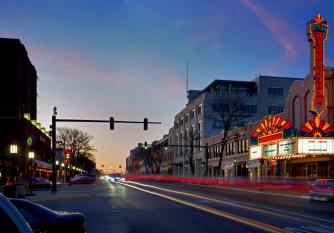 Downtown Birmingham Theatre at night.