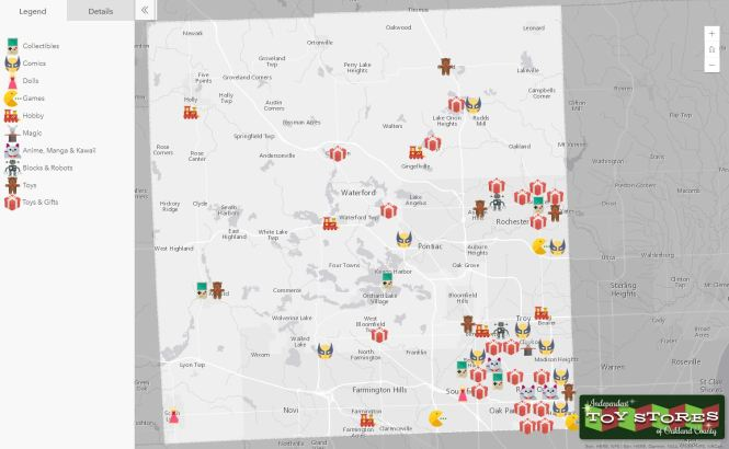 Map of many different toy stores across Oakland County.