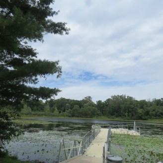 The dock and lake at Lost Lake Nature Preserve.