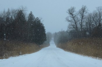 oakwood road heading west snow squall