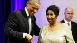 Aretha Franklin and President Obama