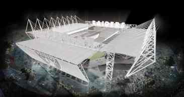 Oakland Raiders New Coliseum Stadium Design At Night